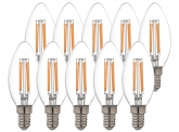 10x LED Fadenlampe Candle E14 klar 4,5W 470lm 2.700K