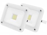 2x SMD LED Fluter 20W 1.800 Lumen Glas Design weiß