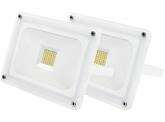 2x SMD LED Fluter 30W 2.700 Lumen Glas Design weiß