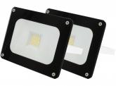 2x AdLuminis SMD LED Fluter 30W 2.700 Lumen schwarz Glas-Design