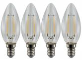 4x AdLuminis LED-Filament Candle C35 klar E14 4W