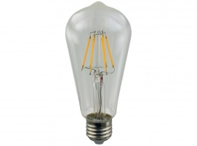 LED Fadenlampe ST64 Edison E27 klar 6W 570 Lumen