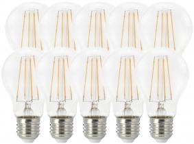 10x LED Fadenlampe Bulb E27 klar 7W 806lm 2.700K