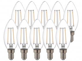 10x LED Fadenlampe Candle E14 klar 2,5W 250lm 4.000K