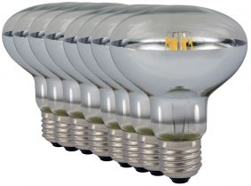 8x LED Reflektorlampe R80 E27 klar 8W 680 Lumen