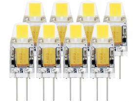 8x G4 LED Stiftsockellampe 12V 1W 120 Lumen tagweiß